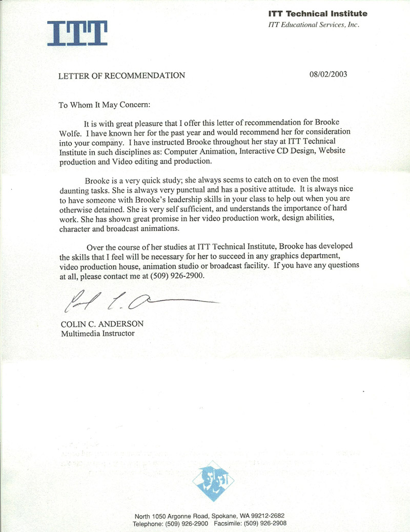 Letter of Recommendation from Colin Anderson 2003