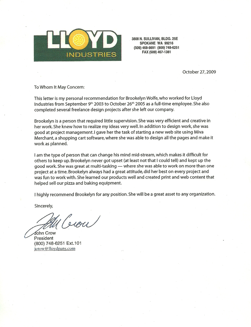 Letter of Recommendation from John Crow 2005