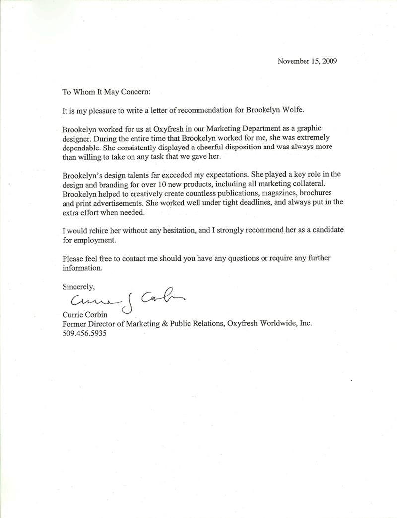 Letter of Recommendation from Currie Corbin 2009